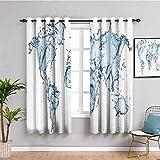 ZLYYH Ventanas Con Cortinas Simple elegante azul marca de agua...
