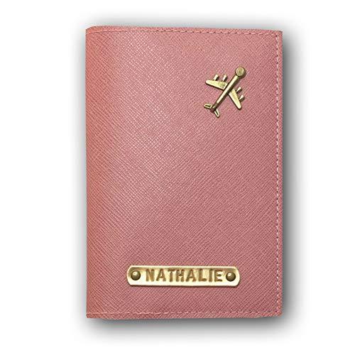 Reisepasshülle personalisiert mit Namensgravur und Symbol, Namen, Reiseetui, Travelwallet, Dokumententasche, Ausweistasche (Altrosa)