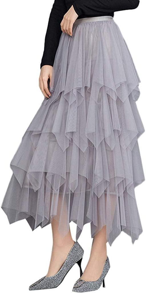 Doric Women's Tulle Skirt Formal High Low Asymmetrical Midi Tea-Length Elastic Waist Pleated Tutu Skirt