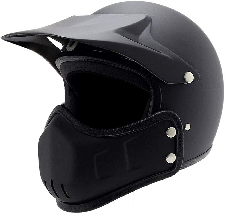 Songlin@yuan Dumb Black Retro Harley 3 4 Half Helmet Motocross Full Face Helmet Multiple Change Combination Helmet Personality Scooter Breathable Helmet Predection