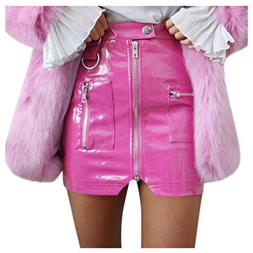 Deloito Damen Freizeit Hohe Taille Kurzer Röcke Rockabilly Petticoat Rock Reißverschluss Schlitz Lederrock Mit Taschen Minirock Dünn Hüftröcke (Rosa,Medium)
