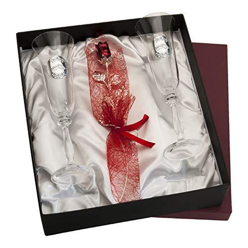 Copas personalizadas con Rosa para Novios cristal Bohemia Grabado