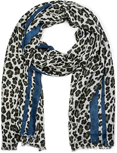 styleBREAKER Damen Schal mit Leo Muster, farbigem Streifen und Fransen, Tuch 01017082, Farbe:Oliv-Blau