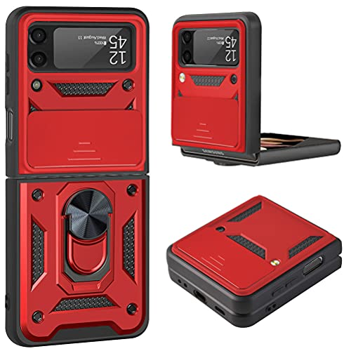 Futanwei Heavy Duty Shockoroof Armor Case for Samsung Galaxy Z Flip 3 (2021), Galaxy Z Flip 3 5G Case with Camera Cover Protection & Ring Holder Stand/Kickstand - Military Grade Drop Tested, Red