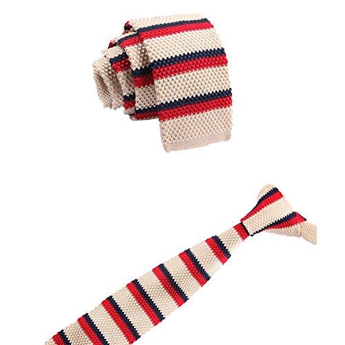 WDOIT Fashion gestreift Krawatte Krawatte Krawatte gestrickt Reißverschluss superdünn mit Flach Herren Stil A