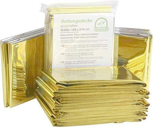 Medi-Inn Rettungsdecke gold silber | 160 x 210 cm | Notfalldecke für Erste Hilfe | Kälteschutz | Hitzeschutz (100 Stück)