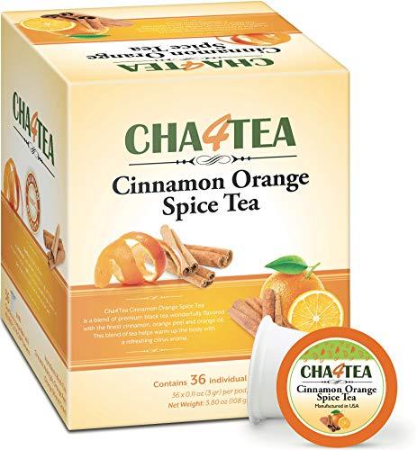 Cha4Tea 36-Count Cinnamon Orange Spice Herbal Black Tea Pods for Keurig K-Cup Brewers