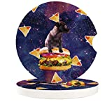 Car Drinks Coasters Set of 2 Pack Funny Space Dog on Hamburger Absorbent Ceramic Stone Stars Coaster with A Finger Notch for Easy Removal from Auto Cupholder