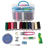 ZOSOE Double Layer Portable Travel Sewing Kits Box with Color Needle Threads Scissor