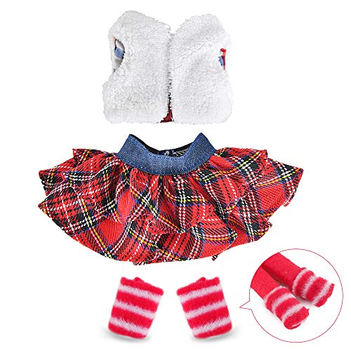 E-TING Santa Couture Clothing for elf (Fluffy Vest+ Plaid Skirt)