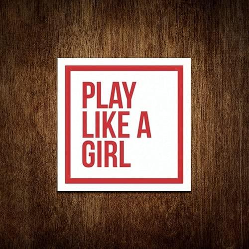 Placa Decorativa Play Like A Girl Lute Como Uma Garota 36x36