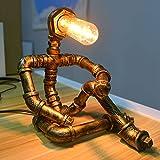 JAHQ Lámpara de mesa vintage, estilo retro, creativa, industrial, lámpara de mesita de noche con patrón robot para bar, pub, cafetería y restaurante