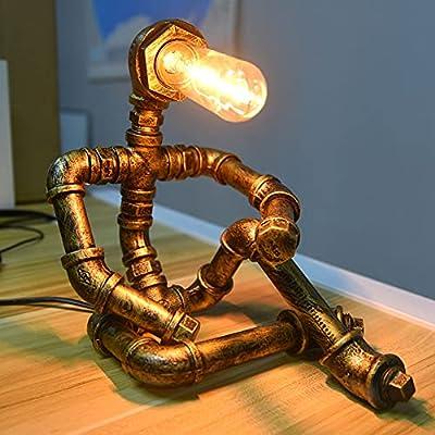 【Estilo de robot creativo】 La lámpara industrial retro se diseñó como un modelo de robot creativo. Cuando instalas un tubo largo de bombilla E27, la divertida lámpara de escritorio parecía un robot pensante. Agréguelo en su habitación que desee, no s...