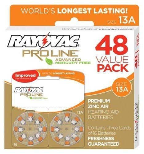 Rayovac Proline Advanced Hearing Aid Batteries Size 13 (48 Pack)