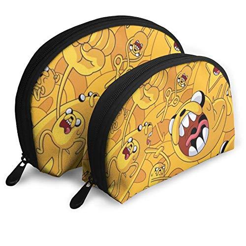 Funny Cute Adventure Time Bolsas de cosméticos bolsa portátil bolsa de embrague conjunto mujeres hombres viaje monedero con cremallera bolso organizador 2 piezas
