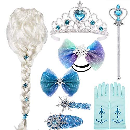 EMIN Disfraz de princesa Elsa con accesorios para disfraz de princesa Elsa, trenza, corona, varita mgica, guantes, collar, pulsera, joya de princesa para nios, nias, carnaval, Halloween