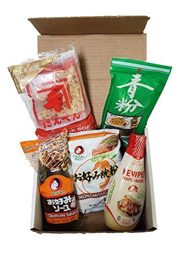 Okonomiyaki 5-in-1 Kit with Recipe   Includes Otafuku Osaka Style Flour Mix, Okonomi Sauce, Japanese Mayonnaise, Takaokaya Aonori Seaweed Seasoning, and Bonito Flakes   Comfortably serves 6-8