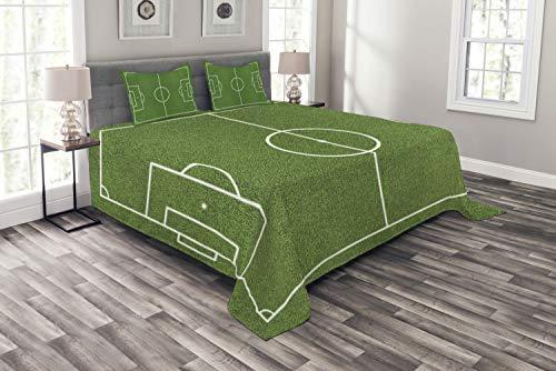 ABAKUHAUS Teen Zimmer Tagesdecke Set, Fußball-Stadion-Feld, Set mit Kissenbezügen Sommerdecke, für Doppelbetten 220 x 220 cm, Fern grün-weiß
