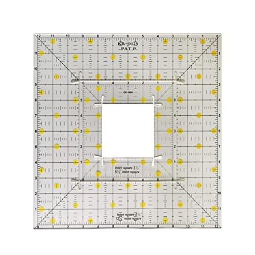Ocobetom Regla de Quilting, regla cuadrada para Quilting, regla de corte de tela, regla de acrílico, regla clara para acolchar y coser