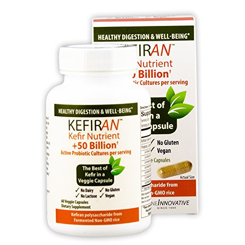Lane Innovative - Kefiran, Kefir Nutrient + 50 Billion Active Probiotic Cultures, Gluten Free, Vegan, Supports Optimal Digestive Health (60 Vegetable Capsules)
