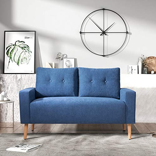 GUNJI Loveseat Sofa Modern Love Seats Furniture Mid Century Two Seat Couch for Small Space Living Room Fabric Loveseat with Solid Wood Legs (Blue)