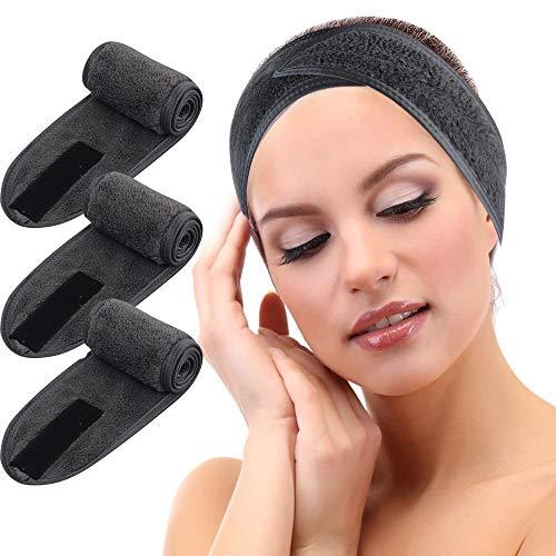 KinHwa Kosmetik Stirnband Frottee Haarband Kosmetik Mikrofaser Haarschutzband mit Klettverschluss für Kosmetische Behandlungen Haarschutz bei Schminken, Sport, Yoga, Waschbar 3Stück Dunkelgrau