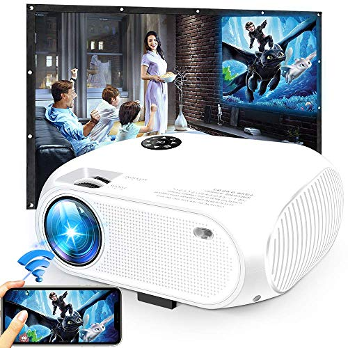 Wireless WiFi Movie Projector, 2020 Upgraded DIWUER Mini Video Projectors 4200 Lux, 1080P Supported, Compatible with TV Stick, HDMI, USB, SD, VGA, AV (Renewed)