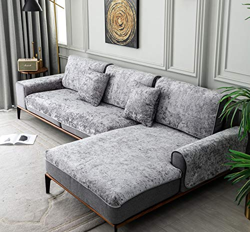 E-Solem Crushed Velvet Grey Sofa Cover, Sofa Covers 4 Seater, Machine Washable Sofa Slipcovers, L Shape Sofa Cover Non Slip, Protective Sofa Cover For Dogs, 36