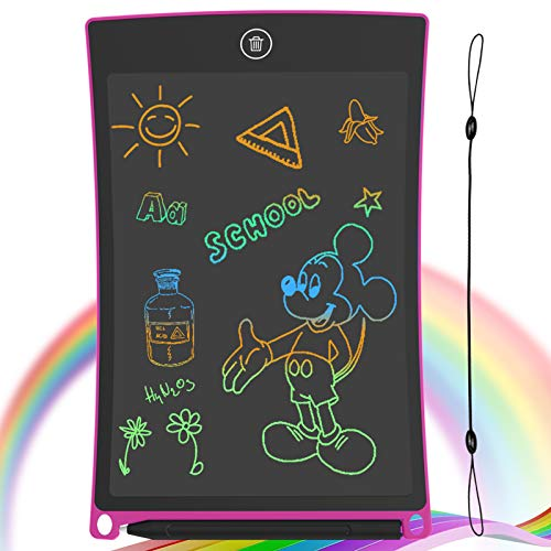GUYUCOM LCD Writing Tablet, 8.5 inch Drawing Board Erasable Doodle Board with Lock Function for Kids Learning Tool Birthday Gift (Pink)
