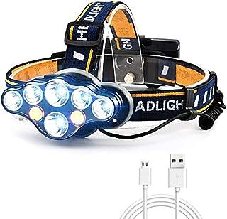 AnCoSoo Linterna Frontal USB 18000 lúmenes 8 LED 8 Modos con luz de Advertencia roja, Linterna Frontal Recargable Impermea...