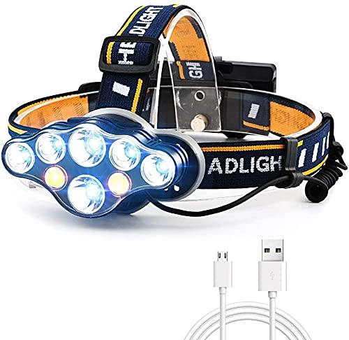 AnCoSoo Linterna Frontal USB 18000 lúmenes 8 LED 8 Modos con luz de Advertencia roja, Linterna Frontal Recargable Impermeable, Linterna Frontal para Acampar, Pescar (Batería no incluida)
