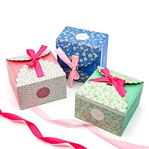 Geschenkboxen Set,15er Kuchen Verpackung Boxen Karton mit Bogen und Schleife Souvenirs für DIY Partygeschenke, Süßigkeiten, Schokolade, Kleine Kuchen, Kekse oder Macarons-14.5x14.5x9cm