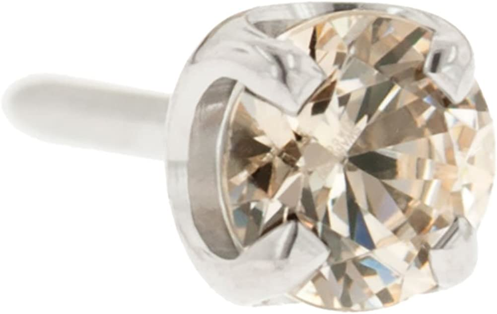 Steel Navel Body Jewelry Threadless Titanium Prong-Set Faceted Gem End: 18g High Polish, Gem: 3mm, Champagne Gem