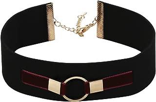 Epinki Women Choker (Adjustable), Velvet Collar Broadband O-Ring Masque Choker Classic Women's Chain.