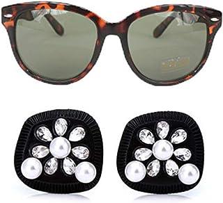 Utopiat - pendientes de perlas negras y gafas de sol polarizadas con ojos de gato, inspiradas en el estilo de audrey hepburn