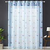 Topfinel Transparente Vorhänge mit Ösen Boot/Schiff Mustern Kurze Gardine für Kinderzimmer Fenster Wohnzimmer 2er Set 160x140cm (HxB) Baum - 7
