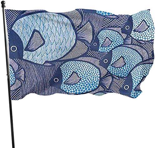 Garten-Flagge, japanischer Stil, Windfisch, Outdoor-Banner, 90 x 152 cm, US-Polyester-Flagge, UV-beständig, dekorative Zäune/Garten/Terrasse/Rasen