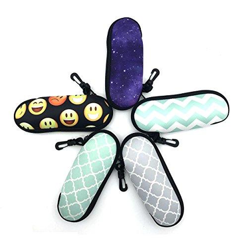 Wakaka Ultra Light Portable Travel Soft Neoprene Safety Pouch Zipper Box Case for Sunglasses, Swimming glasses and Eyeglasses with Belt Clip (Emoji)