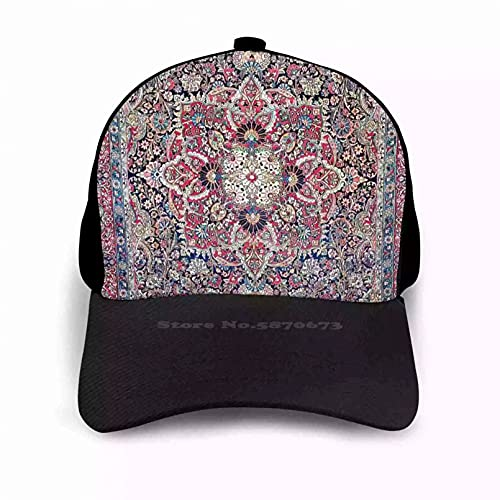 OEWFM Gorra de Beisbol Kashan Central Rug Print Ajustable Snapback Sombreros Hombres Mujeres Alfombra Vintage Alfombra Nomad Boho Regalo