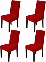 Awland Dining Chair Slipcovers Protector Removable Short Stretch Spandex Dining Room Banquet Chair Seat Cover for Kitchen Bar Hotel and Wedding Ceremony 4PCS - Red