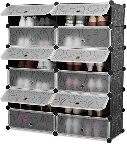 Homfa Scarpiera Armadio Guardaroba 12 Cubo Porta Scarpe, Mobiletto da Ingresso Fai da Te, Scaffale Organizzatore Nero Bianco 111x95x37cm