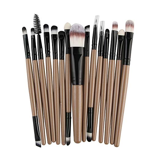 Pinceau de Maquillage Kit de Maquillage pour Outils de Maquillage Pro Makeup Poudre de Fard à paupières Ombre à paupières Pinceau à lèvre en Poils Souples en Fibre (15 pcs)