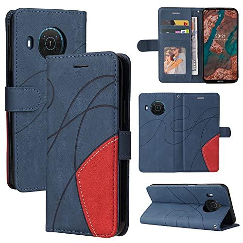 ZHANGHUI Funda protectora para Nokia X20 de piel tipo cartera, ranura para tarjetas, funda para teléfono Nokia X20, cartera para hombre y mujer, a prueba de golpes, color azul