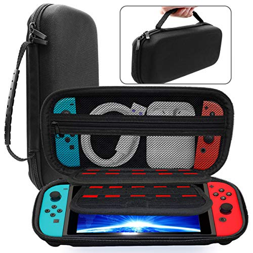 SHiQiMA Switch Carrying Case Black Travel Hard Carry Cases Portable Shell Pouch with 20 Games Card Cartridges for Nintendo Switch Console & Accessories
