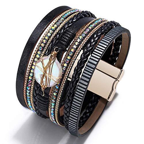Qingsb bohemien stijl strass kristal zwart wit lederen armband femme parel charme magneet sluitingen armbanden voor dames heren, zwart