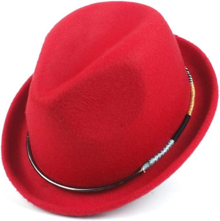 No-branded Winter Autumn Jazz Hat Panama Hat Women Men Wool Polyester Fedora Hat Color Decoration Fashion Hat ZRZZUS (Color : Khaki, Size : 58CM)