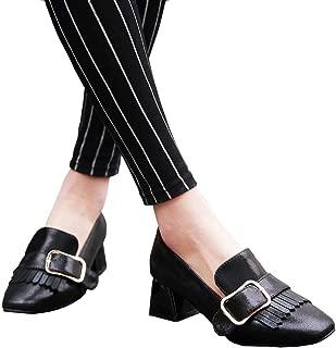 ACHICOO Women Fashion All Match Chunky Heels Shoes