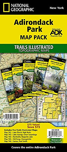 NATIONAL GEOGRAPHIC Adirondack Park Topo Map Pack Waterproof Topographic Trail Maps New York Adirondacks