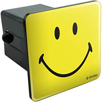 Emoji Smile Embossed Metal Emblem on Metal Trailer Hitch Cover Fits 2 Receivers, Yellow Smiley face