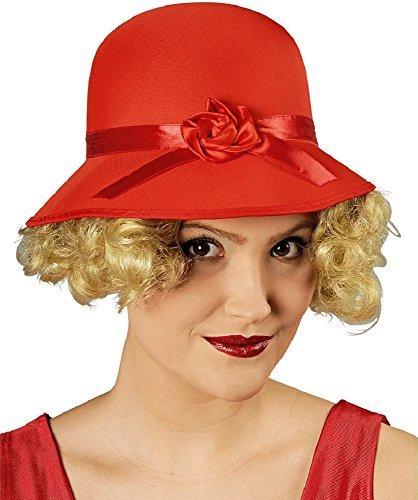 Körner Festartikel Charleston Hut für Damen - Rot - Zum 20er oder 30er Jahre Kostüm